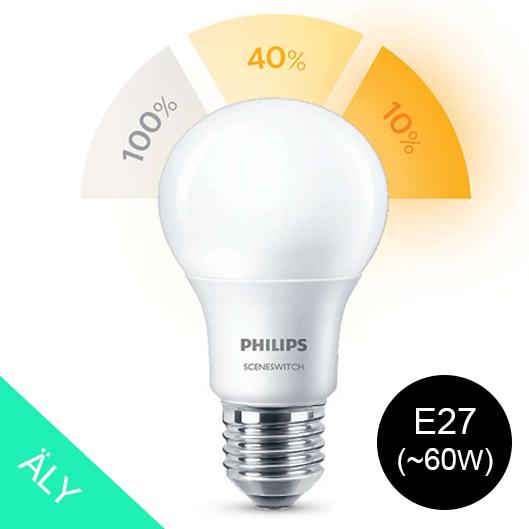 philips sceneswitch e27 led lylamppu 8w 5w 2w 60 w valotehdas laadukkaat led valot ja led. Black Bedroom Furniture Sets. Home Design Ideas