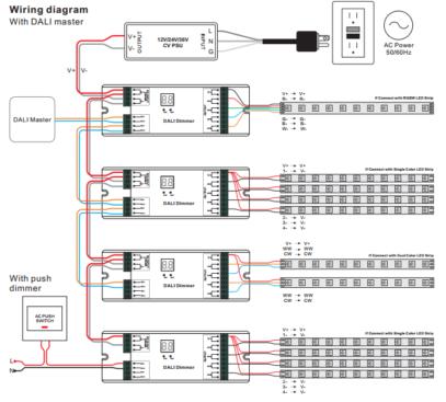 DALI LED himmennin 4-kanav. 12-36V 4x8A (1-4 DALI-osoitetta) Dali Lighting Control With Dimmer Wiring Diagram on