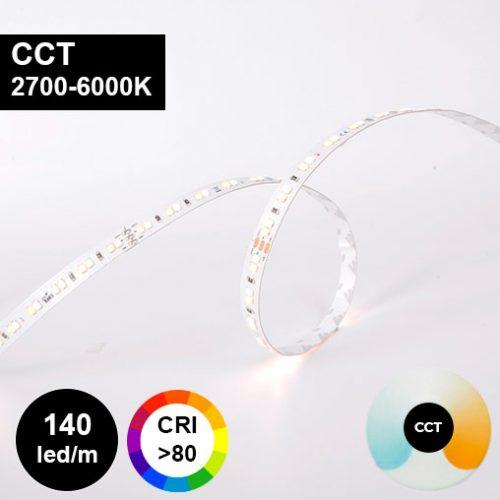 Värilämpötilasäädettävä LED-nauha 19,2W/m 24V 140led/m
