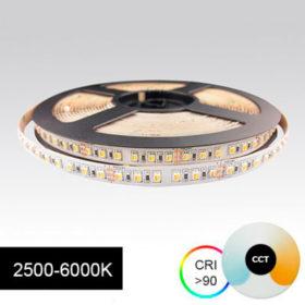 Värilämpötilasäädettävä led-nauha, erittäin tehokas 23W/m 24V 5m kela, CRI>90