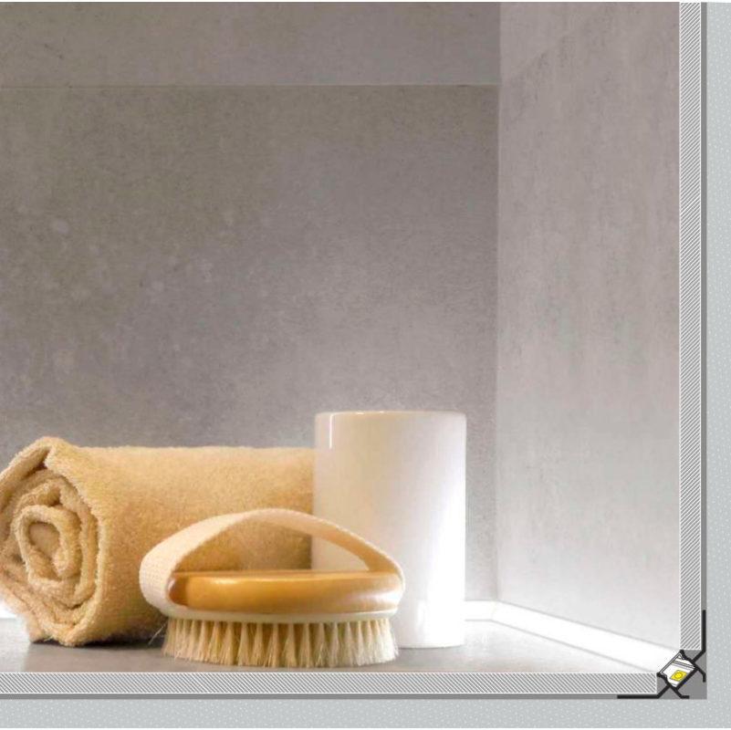 LED-nauha kylpyhuoneessa uppoasennettuna led-profiilissa