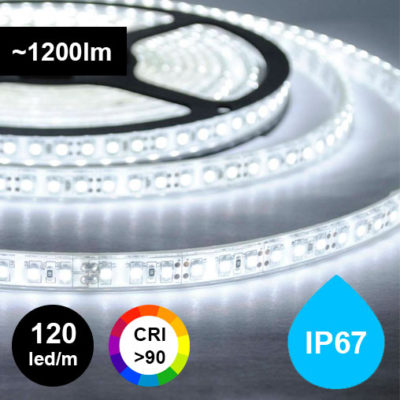12W/m 24V LED-nauha IP67 kylpyhuoneeseen ja saunaan