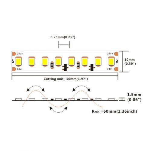 18W/m 24V LED-nauhan mitat