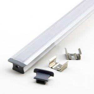 LED-profiili uppoasennettava, diffuusorilla, päätypaloilla ja kiinnitysklipseillä
