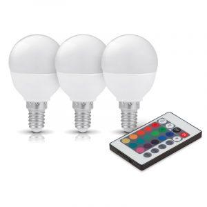 RGB+W E14 led-lamppuja kaukosäätimellä