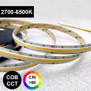 cct cob pisteetön värilämpötilasäädettävä led-nauha 2700-6500K